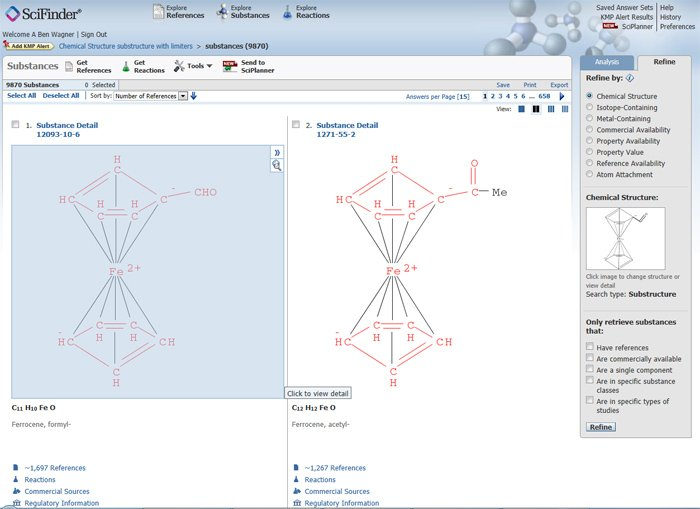 Searching Coordination and Organometallic Compounds in SciFinder
